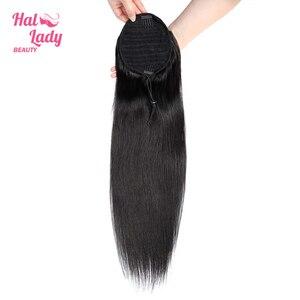 Image 3 - ハロー女性美容ストレート巾着ポニーテール人毛インドクリップで毛延長非レミー女性のためのポニーテール