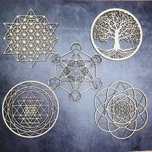 Ornements de noël fleur de vie en bois, dessous de verre à géométrie sacrée, décoration de maison, signe en bois, Art mural graine de vie