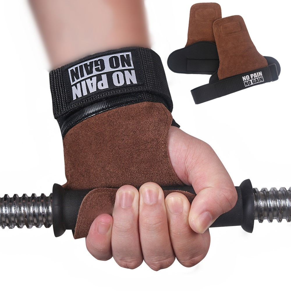 Leather Gym Grips Anti-Skid Weight Lifting Gloves For Horizontal Bar Crossfit Bodybuilding Dumbbell Workout Fitness Palm Protect