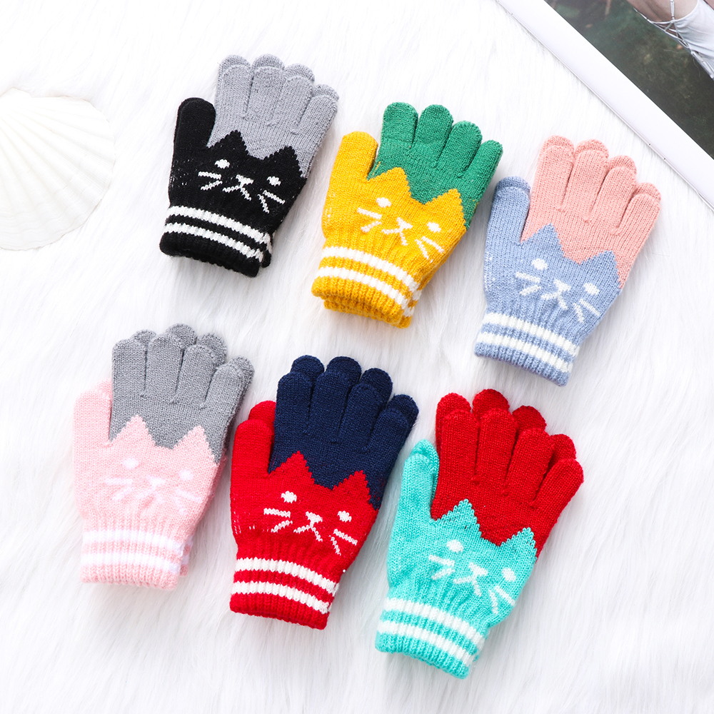 Toddler Baby Kids Girls Boys Child Xmas Gloves Winter Warm Knitted Mittens 2-10Y