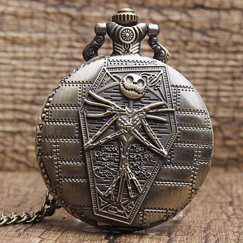Bronze Nightmare Before Christmas Pocket Watch Jack Skellington Skull Skeleton Quartz Pocket Watch FOB Chain Women Mens Clock