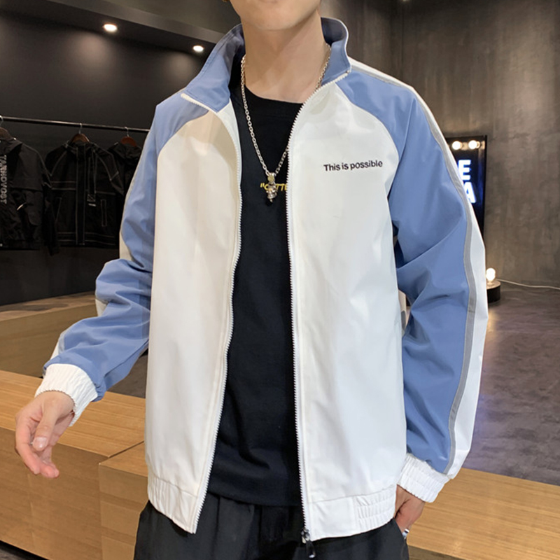 2020 New Spring Fashion Stand Collar Patchwork Casual Jacket Men Zipper Outerwear Coat Big Size 6XL 7XL 8XL