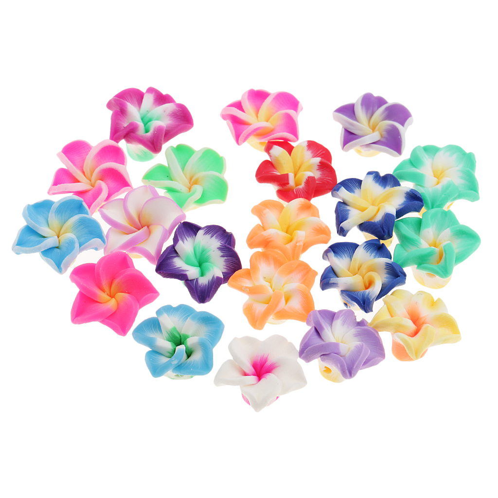 20 Pieces Assorted Color Plumeria Rubra Polymer Clay Beads For Jewelry Making Beading 15mm