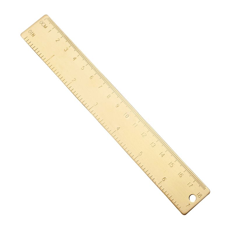 OOTDTY 18cm Brass Ruler Bookmark Label Book Mark Cartography Painting Measuring Tool