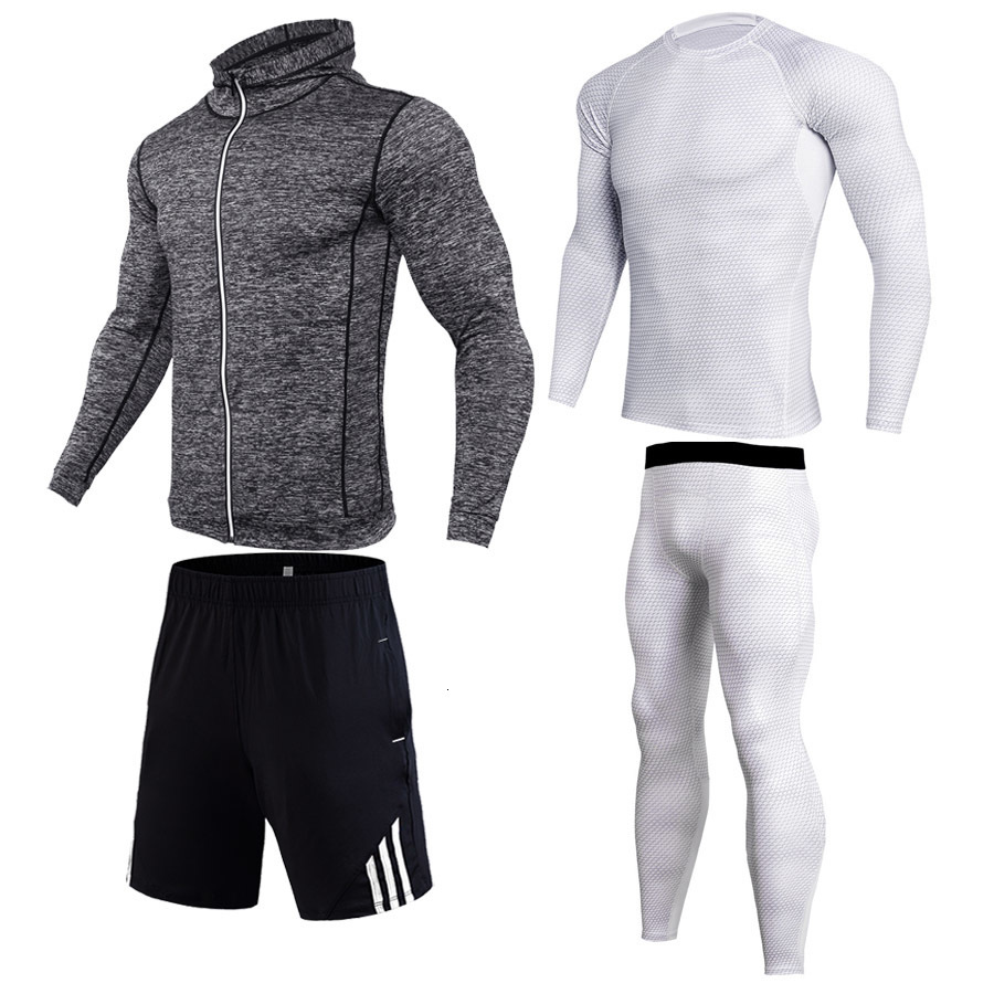 White Tracksuit Men Elastic Sportswear Soft Breathable Jogging Training Gym Fitness Compression Clothing Man Running Set S-4XL