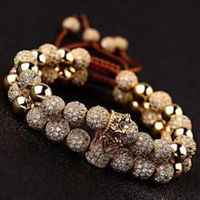 LOOKER Luxury Couple Distance Bracelets Charm Jewelry 2pcs/Set Gold Copper Beads Micro Pave CZ Balls&Crown Aduustable Bracelet