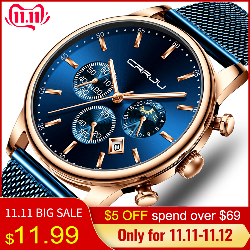 CRRJU мужские часы Reloj Hombre 2019 мужские s часы лучший бренд класса люкс кварцевые часы с большим циферблатом спортивные водонепроницаемые Relogio Masculino Saat