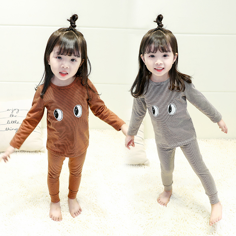2018 Autumn Clothing New Style Korean-style Glasses Stripes Tracksuit Piece Men And Women Children Pajamas Suit