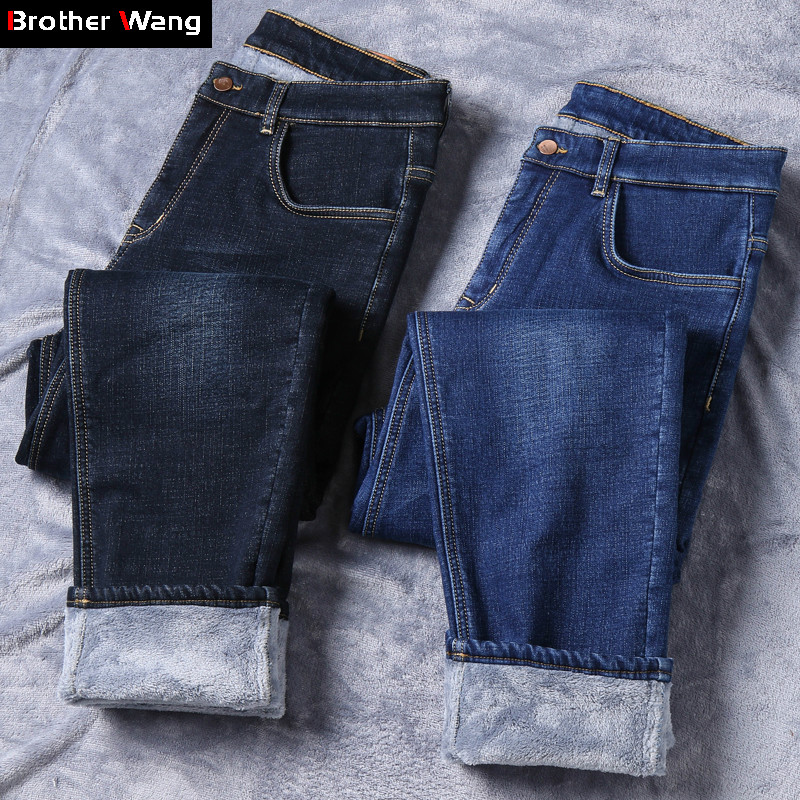 2019 Winter Men Warm Jeans Business Fashion Classic Style Stretch Denim Trousers Male Brand Thick Casual Pants Black Blue