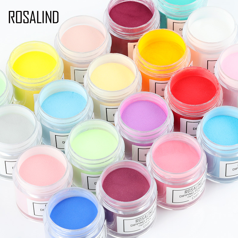 ROSALIND Dipping Powder Set Nail Holographic Glitter Dip Powder Nails Set For Manicure Gel Nail Polish 10g Chrome Pigment Powder|Nail Glitter|   - AliExpress