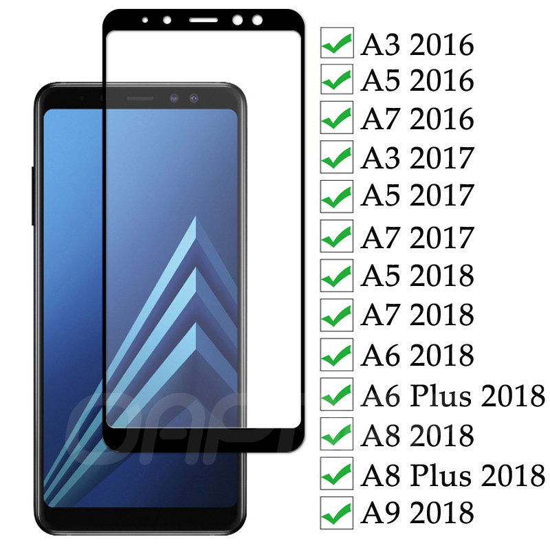 9D Tempered Glass For Samsung Galaxy A3 A5 A7 2016 2017 A6 A8 Plus A9 2018 Full Cover Screen Protector Safety Protective Film