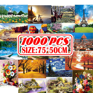 75*50cm with Storage Bag 1000Pcs Jigsaw Puzzle Wooden Paper Puzzles Educational Toys for Children Bedroom Decoration Stickers