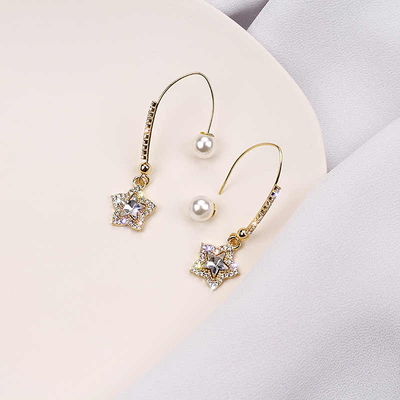 Fashion Anting-Anting Korea Temperamen Net Merah Berlian Imitasi Lima Menunjuk Bintang Anting-Anting Panjang Temperamen Liar Ear Hook Telinga Perhiasan