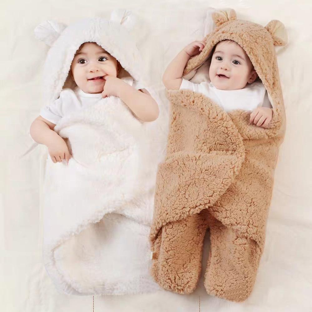 Baby Blanket Newborn Baby Cute Solid Colors Cotton Receiving Sleeping Blanket Boy Girl Wrap Swaddle Sleeping Bag