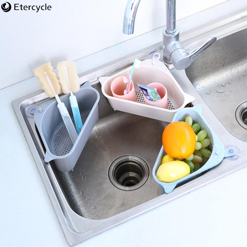 Kitchen Triangular Sink Strainer Drain Vegetable Fruits Drainer Basket Suction Cup Sponge Holder Storage Rack Sink Filter Tops