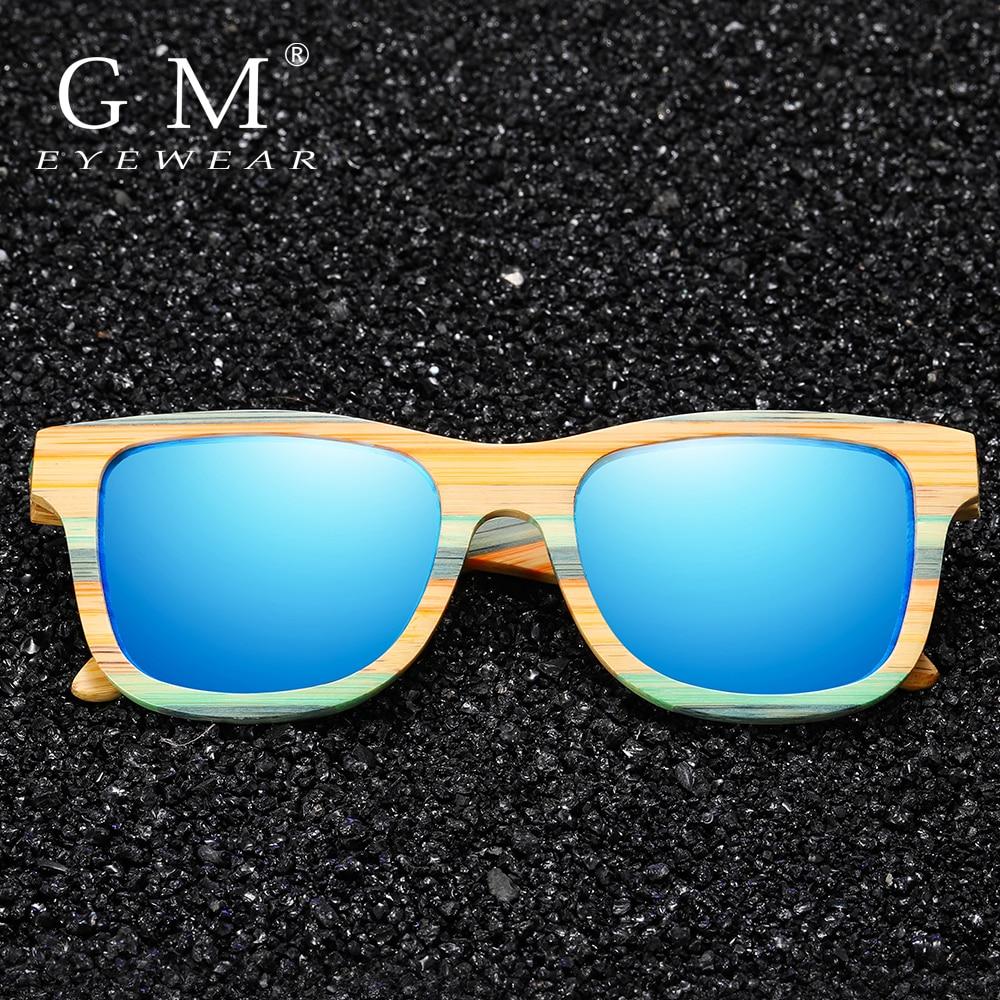 GM Skateboard Wood Bamboo Sunglasses Polarized For Women Mens New Brand Designer Wooden Sun Glasses UV Protection Lens S3834