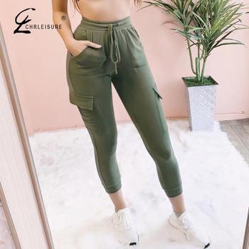 Fashion Pencil Pants Women Slim High Waist Streetwear Ankle-length Pants Push Up Pockets Joggers Women Trousers