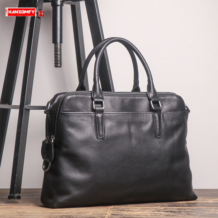 New Men's Handbag Portable Briefcase Vegetable Tanned Leather Shoulder Messenger Bag Business Laptop First Layer Leather Bags