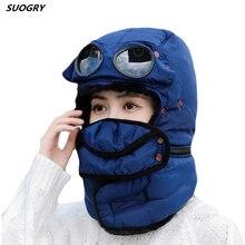 Ushanka sombreros de estilo aviador para invierno, gorros con orejeras de felpa, trampero ruso, con gafas, aviador de piloto, de piel sintética, gorros de nieve