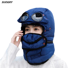 Winter Bomber Hats Plush Earflap Russian Trapper Ushanka with Glasses Men Women Pilot Aviator Faux Leather Fur Hat Snow Caps