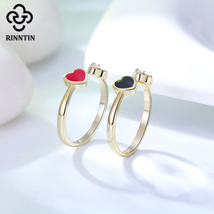 Image 5 - Rinntin 100% 925 Sterling Silver Black Red Heart Shape Enamel AAAA Zircon Adjustable Ring Jewelry Accessories For Female  TEQR04
