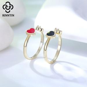 Image 5 - Rinntin 100% 925 スターリングシルバー、黒、赤ハートエナメルaaaaジルコン調整リングジュエリーアクセサリー女性のためのTEQR04