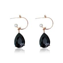 DREJEW Fashion Black Water Drop Rhinestone Statement Earrings 2019 Alloy Drop Earrings for Women Weddings Party Jewelry HE0561 стоимость