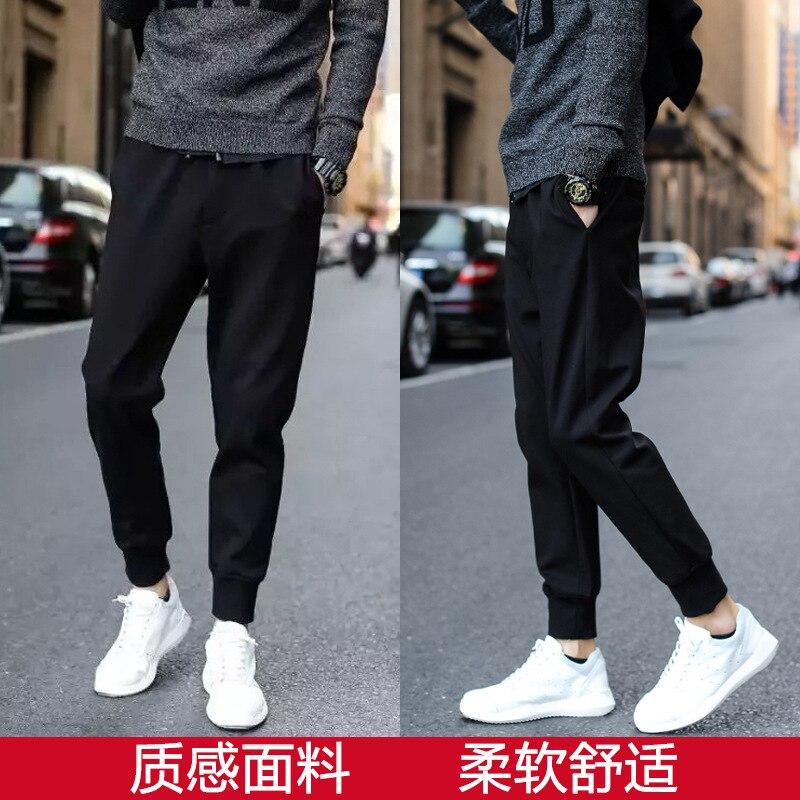 Casual Pants Summer Capri Beam Leg Korean-style Trend Necking Halon Tight Leg 9 Points And 8 Slim Fit Pants MEN'S Trousers Leisu