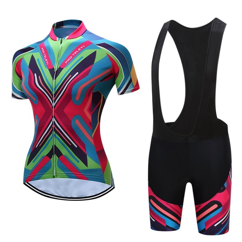 Spor ve Eğlence'ten Bisiklet Takımları'de Yaz kısa kollu kadın bisiklet ekipmanları kadın dağ bisikleti MTB yarış bisiklet forması ve BIB şort setleri Maillot giyim
