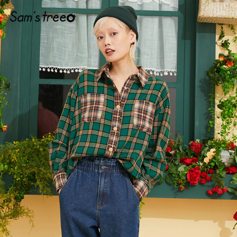 Samstree Plaid Pocket Vintage British Blouse Shirt Women Top 2019 Autumn Long Sleeve Casual Fashion Oversize Ladies Blouses