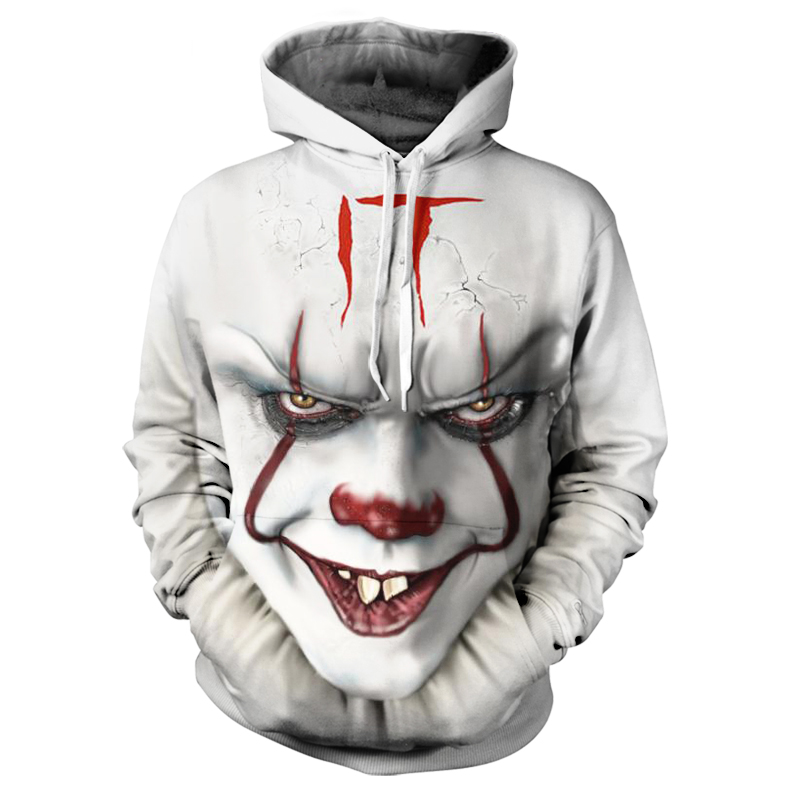 Brand Clothing 2019 Autumn Fashion Men's 3D Hoodie Horror Clown IT Movie Funny Clown Cartoon Print Hoodie Casual Sportswear