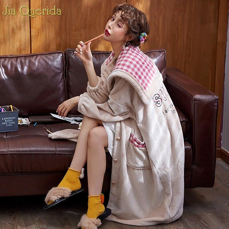 Fashion Ladies Velvet Robe Plus Size Long Sleeve Winter Night Robe Pink Plaid Hooded Lapel Double Use Hood Bathrobe Apricot Robe
