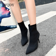 BYQDY Women Ankle Boots Slip on Winter Autumn High Heels Shoes Stretch Fabric Pointed Toe Match Boots Comfortable Russian Shoes fedonas brand socks boots women high heels round toe party weddding shoes woman autumn winter high slip on stretch boots pumps