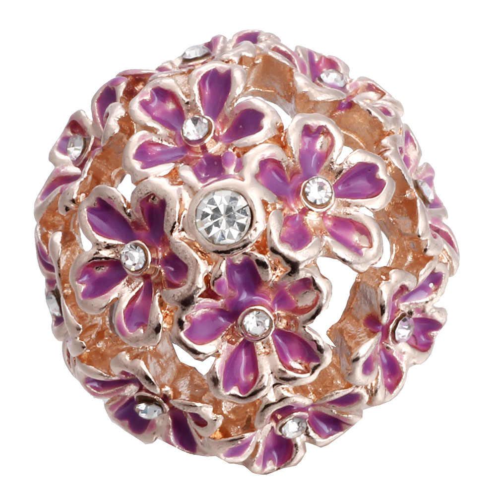 5 unidades por lote, venta al por mayor, 18mm, mezcla de joyas a presión, muchos estilos, botones a presión de Metal de 18mm, botones dorados, rosas y dorados, broches de diamantes de imitación Jewe
