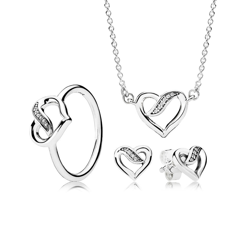 NEW 2019 100% 925 Sterling Silver Ribbons Of Love Gift Set Necklace Charms Rings Fit DIY Original Jewelry A Set