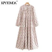 Kpytomoa vestido midi feminino, plissado, estampa fashion, vintage, gola em v, manga longa, 2020