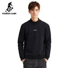 Pioneer camp streetwear hoodies dos homens lã quente 100% algodão novo design impresso moletom grosso masculino awy907356t