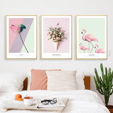 Flamingos Wall Art Canvas Poster Pink Flower Print Calla Rose Wall Painting Nordic Poster Decorative Picture Living Room Decor beach flamingos tassel hanging painting wall decor print