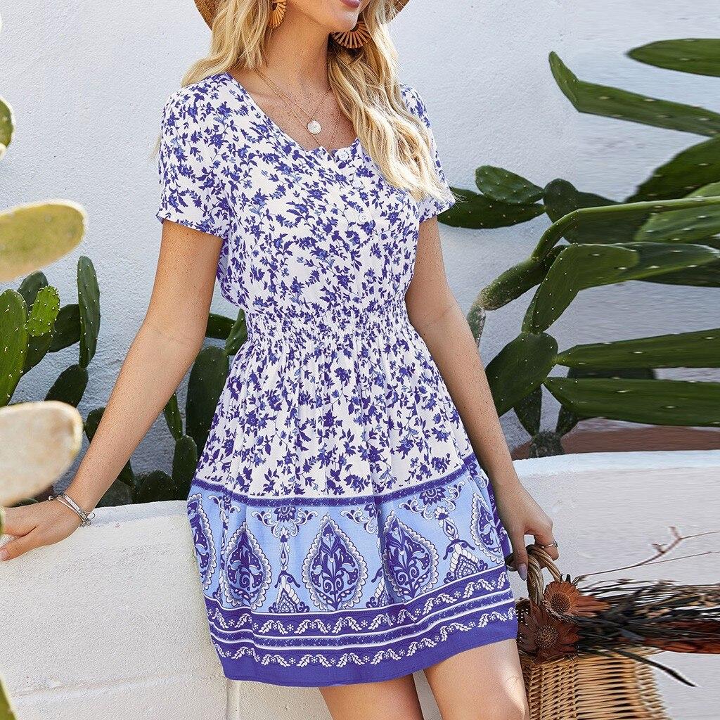 Women's Summer Flowers Print Mini Dress Vintage Boho Bohemian Dresses Beach Short Dress Ladies Casual Sundress Holiday#J30