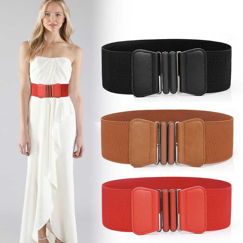 Plus größe gürtel elastischen breiten rot leder mode cummerbunds großen damen gürtel für frauen kleid mantel designer stretch korsett femme