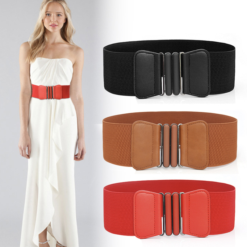 Plus Size Belt Elastic Wide Red Leather Fashion Cummerbunds Big Ladies Belts For Women Dress Coat Designer Stretch Corset Femme