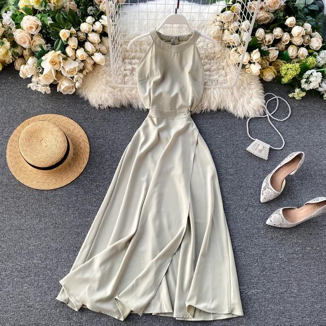 Fitaylor Summer Spring Elegant Knitted Halter Solid Sleeveless Vivid Color Women Female A-line High Waist Long Dress 2