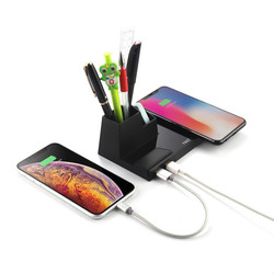 4 in 1 With USB Pen Holder Qi Wireless Charger Stand  Fast Wireless Charging Pad Mat For Samsung Note9 S10e Huawei Mate 20 Pro