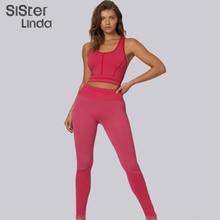 Sisterlinda Solid Fitness Tracksuit Set Women Sexy Vest Tops