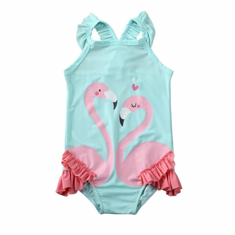 Kids Baby Girls Flamingo Swimming Costume Bikini Swimwear Swimsuit Beachwear /BY