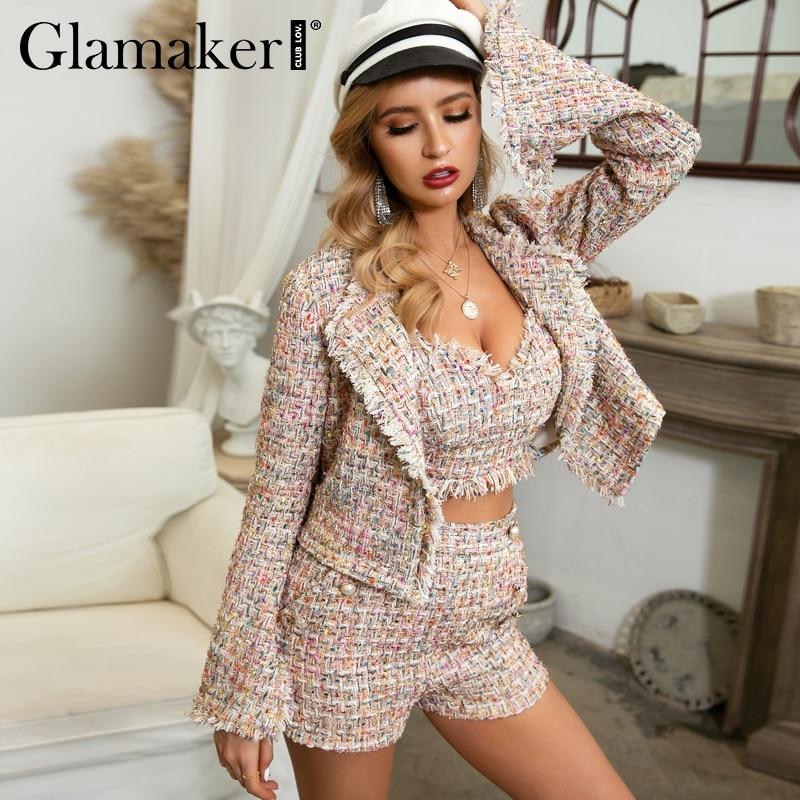 Glamaker Sexy Lurex Short Tweed Blazer Jacket Women Autumn Push Up Elegnat Blazer Female Fashion Club Long Sleeve Outwear Winter