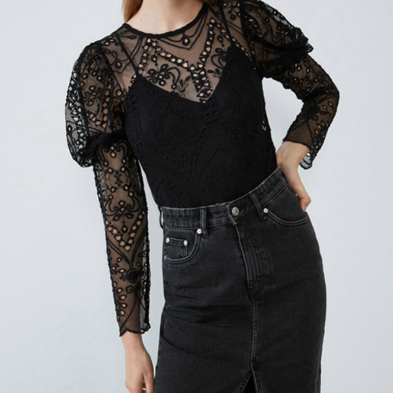 Women Lace Hollow Out Shirts Print Loose Tops T-Shirt Ladies Long Sleeve T-Shirt Casual Solid Color See Through Top Sexy Shirt