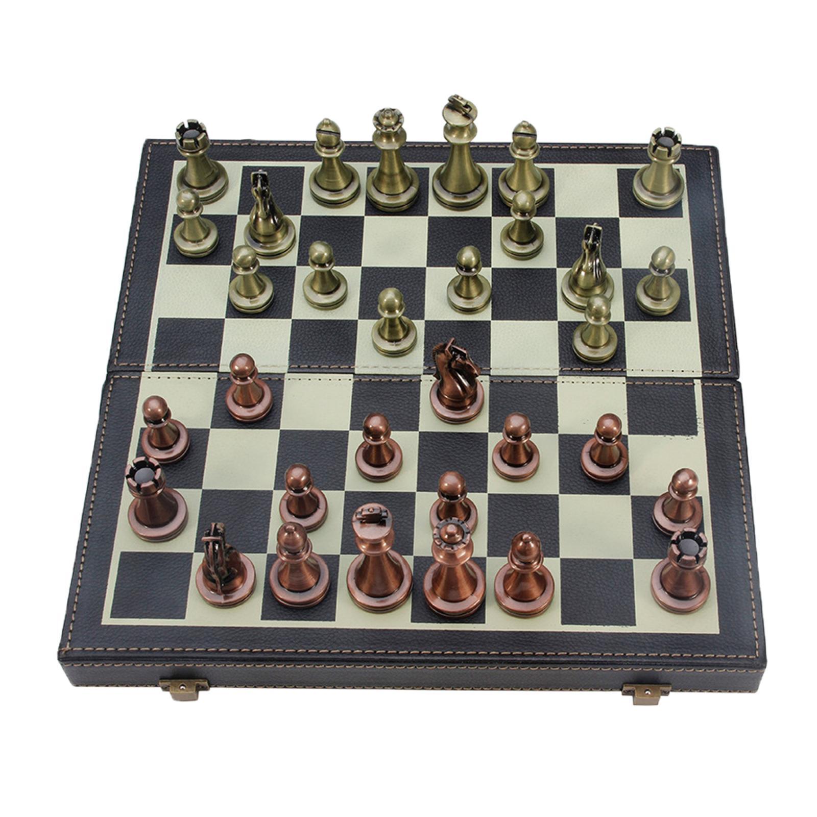 Tablero de ajedrez de Madera y Cuero Vintage plegable