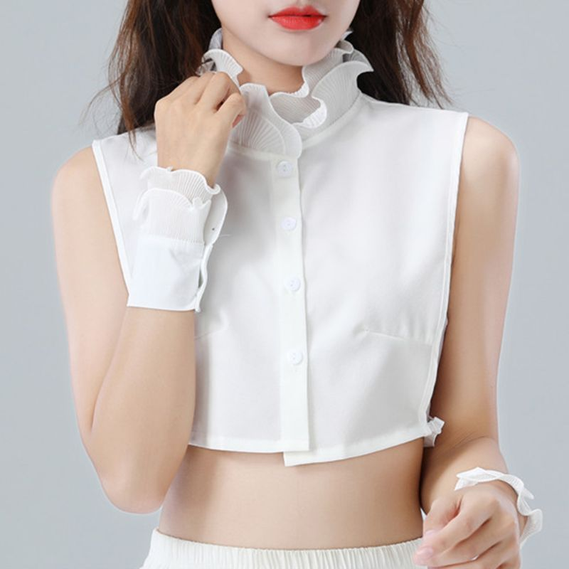 Women Sweet Layer Agaric Ruffles Stand False Fake Collar Button Down Half-Shirt