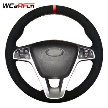 WCaRFun Suede Car steering wheel Cover for Lada Vesta SW 2015 2016 2017 2018 2019 Xray 2015-2019